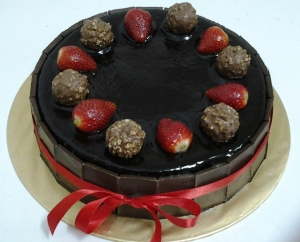 Chocolate Moist Cake with Strawberry and Ferrero Rocher